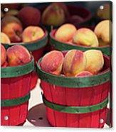 Fresh Texas Peaches In Colorful Baskets Acrylic Print