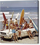 Friends Having Fun On Beach Acrylic Print