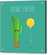 Funny Cactus With Air Balloon. Vector Acrylic Print