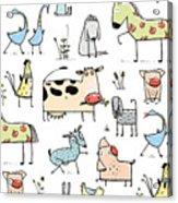 Funny Cartoon Village Domestic Animals Acrylic Print