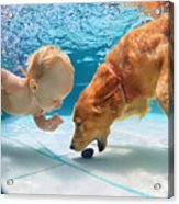 Funny Little Child Play With Fun And Acrylic Print