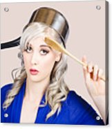 Funny Pin Up Housewife Saluting For Cooking Duties Acrylic Print