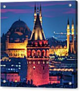 Galata Tower And Suleymaniye Mosque Acrylic Print