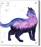 Galaxy Forest Cat Acrylic Print
