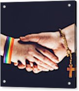Gay And Christian Person Shaking Hands Acrylic Print
