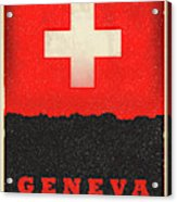 Geneva Switzerland World City Flag Skyline Acrylic Print