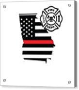 Georgia Firefighter Shield Thin Red Line Flag Acrylic Print