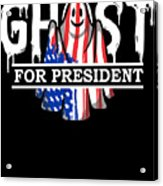 Ghost Elected Cute Halloween Spirit In American Flag Dark Acrylic Print