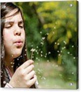 Girl Blowing Dandelion Flower Acrylic Print