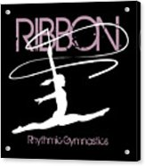 Girl Competing In Female Rhythmic Gymnastics Jumping With A Ribbon Acrylic Print