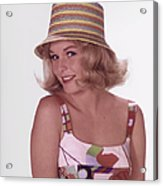 Girl In Vintage Hat Acrylic Print