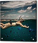 Girl Snorkelling In Indian Ocean Acrylic Print