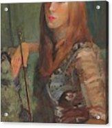 Girl With Bow Acrylic Print