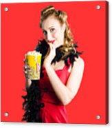 Glamorous Woman Holding Popcorn Acrylic Print