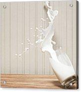 Glas Of Milk Spilling Acrylic Print