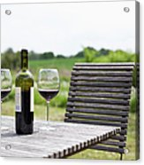 Glasses And A Bottle Of Red Wine On An Acrylic Print
