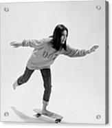 Gloria Steinem On A Skateboard Acrylic Print