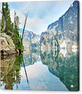 Goat Lake On Cloudy Day In Sawtooth Acrylic Print
