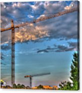 Going Up Greenville South Carolina Construction Cranes Building Art Acrylic Print