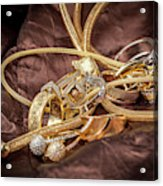 Gold Jewelry Close Up Acrylic Print