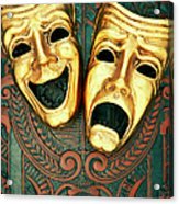 Golden Comedy And Tragedy Masks On Acrylic Print