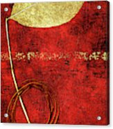 Golden Leaf On Bright Red Paper Acrylic Print