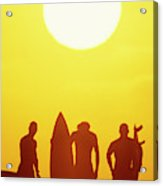 Golden Surf Silhouettes Acrylic Print