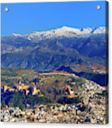Granada, The Alhambra And Sierra Nevada From The Air Acrylic Print