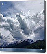 Grand Teton Mountains And Clouds Acrylic Print