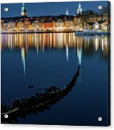 Gray Wolf Shipwreck And Stockholm Gamla Stan Fantastic Reflection In The Baltic Sea  Acrylic Print