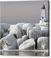 Great Lakes Lighthouse With Ice Covered Acrylic Print
