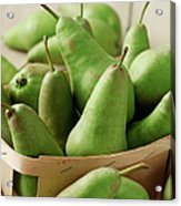 Green Pears In Punnet And Wooden Table Acrylic Print