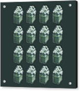 Green Present Pattern Acrylic Print