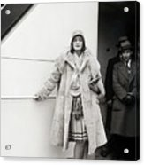 Greta Garbo Sailing On Ship Acrylic Print