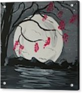 Grey Moon With Red Flowers Acrylic Print