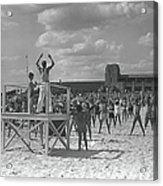 Group Of People Exercising On Beach, B&w Acrylic Print
