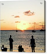 Group Of Young Friends On Beach At Acrylic Print