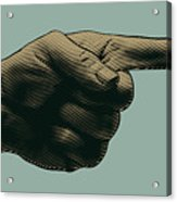Halftone Pointing Finger. Engraved Acrylic Print