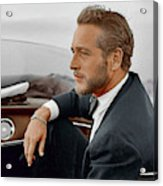 Hand Colored Picture Of Paul Newman Acrylic Print