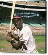 Hank Aaron Of The Milwaukee Braves Acrylic Print