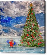 Happy Christmas Parrot Acrylic Print