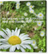 Happy Daisy Quote Acrylic Print