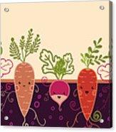 Happy Root Vegetables Horizontal Acrylic Print