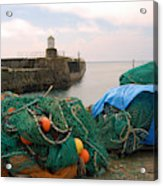 harbour pier and fishings nets at Pittenweem, Fife Acrylic Print
