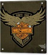 Harley Davidson Old Vintage Logo Fuel Tank Motorcycle Brown Background Acrylic Print