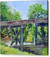 Harrison Park Bridge-ellijay River - Sun Peeking Under Acrylic Print