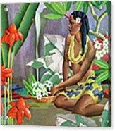 Hawaiian Woman In Landscape Acrylic Print