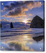 Haystack Sunset Acrylic Print