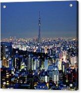 Hazy Skyline With Tokyo Sky Tree Acrylic Print