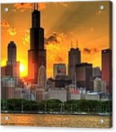 Hdr Chicago Skyline Sunset Acrylic Print